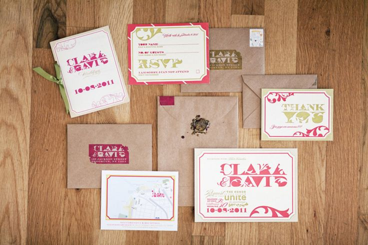 Love this bright pink wedding invitation suite