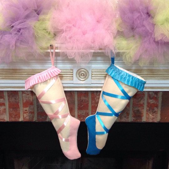 Christmas stocking, Ballet Christmas stockings, Dance, Ballet POINTE Shoes, Pink or Blue, Personalized Christmas stockings SALE 20% OFF