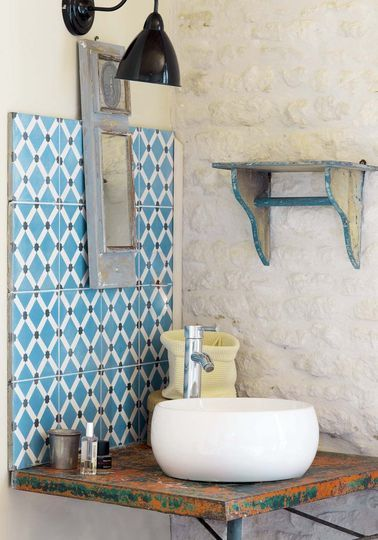 Cement tile, no edging, adhere close together for fine grout line.