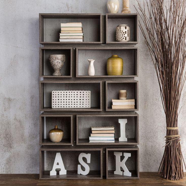 Grey Wood Bookshelf
