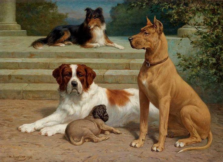 peinture. chiens.