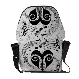 Musical notes heart and piano keys courier bag
