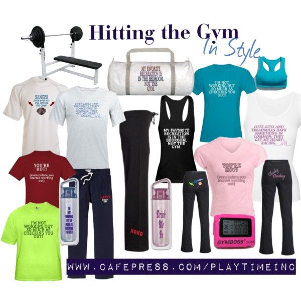 Mens' and womens' gym clothes to look flashy at the gym. www.cafepress.com/playtimeinc