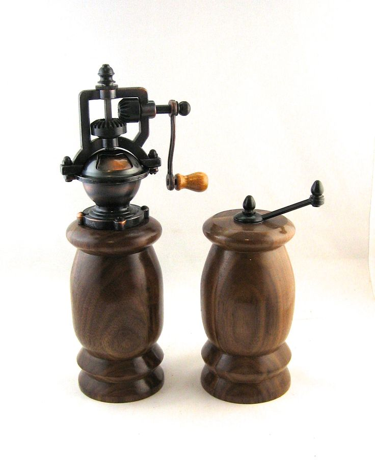 Pepper Grinder and Salt Grinder made from Walnut; antique style with crank handle.