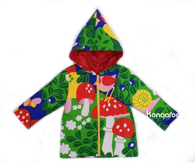 KongaRoo Childen´s unique jacket, Material is recycled, old (but like new) curtain from 60´s or 70`s