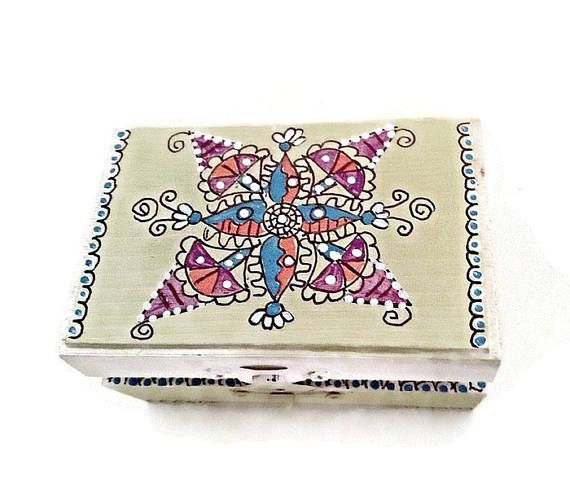 Hand Painted Mandala Jewelry Box Painted Wood Mandala Ring
