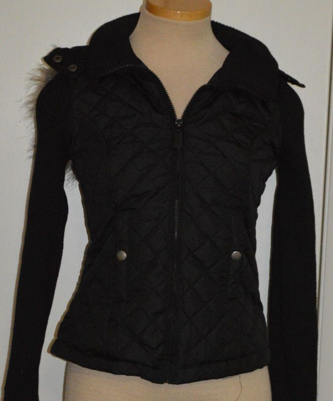 Ladies Rue21 Black Quilted Hooded Jacket With Ribbed Sleeves Juniors Size Small #rue21 #BasicCoat