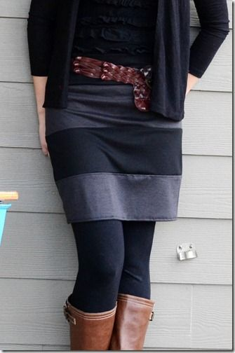 Knit Striped Shirt Skirt Tutorial. this seems a little complicated, but i think it could be done with two tshirts. cute skirt.