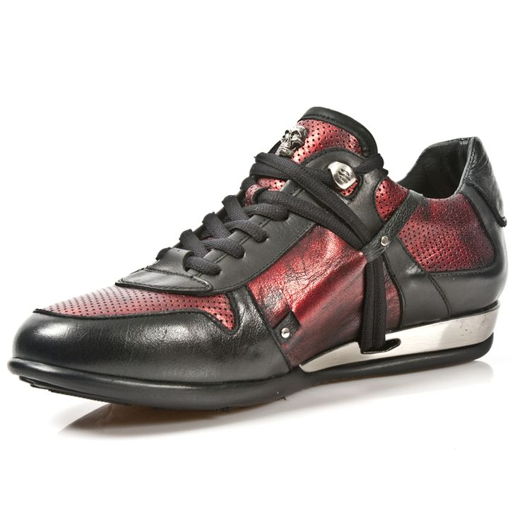 Black & Electric Red Leather Hybrid Dress Sneakers from New Rock Shoes. Lacing up the front, Metal on the heels. Small Skull on top of Shoe. NOW ONLY $199.99 w Shipping Included! http://www.newrockbootsusa.com/Black-Electric-Red-Leather-Hybrid-Shoes_p_2441.html