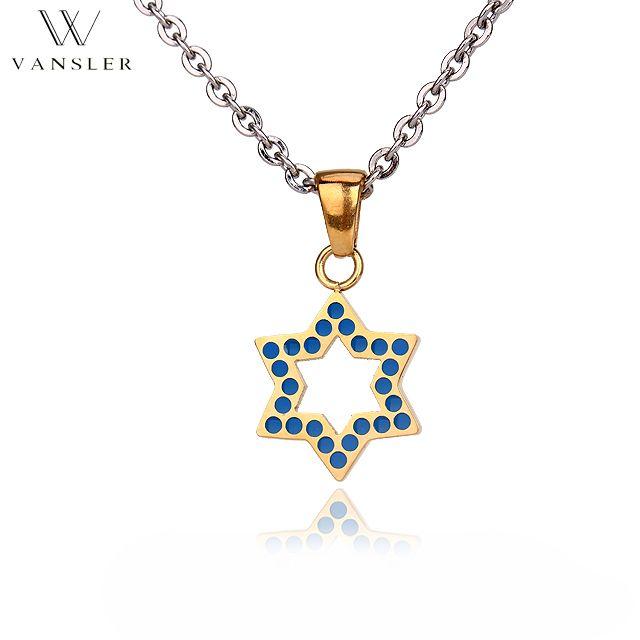 VANSLER Star of David Pendant necklace Stainless steel Link chain Jewish symbol Israel Judaism Vintage/Classic Gift N0041001