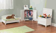An entire bedroom set for your dog! A bed, toy box and wardrobe for all of the accessories!