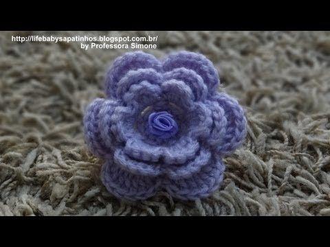 Flor para aplicação em Crochê com Pérola - Professora Simone - YouTube