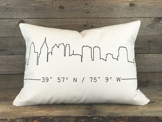 ▽ DESIGN ▽  Turn your home city skyline into a one-of-a-kind pillow. ○ Choose between a 12x18 accent pillow or a large and squishy 16x20 pillow  ○ Is this a gift? Wed love to include a personalized gift card and pretty tissue paper at no charge! Just provide us with a gift message with your order information :) ▽ PROOF ▽  Youll receive one to approve via an Etsy Convo in 1-2 business days  ▽ HOW TO ORDER ▽  Please complete the following information in the Message to Seller at checkout  ○…