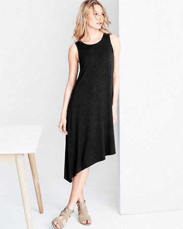 Eileen Fisher Viscose Jersey Asymmetrical Tank Dress