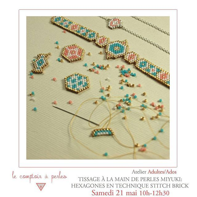 ATELIER - Encore quelques places disponibles pour l'atelier de samedi consacré à la technique de tissage BRICK STITCH! Des formes originales à tisser et le plein de couleurs à tester avec notre importante gamme de perles Miyuki ;) A ne pas rater! Réservez votre place! -> lien dans la bio  #lecomptoiraperles #perles #beads #brickstitch #miyuki #miyukibeads #miyukiaddict #miyukidelica #tissage #faitmain #beading #handmade #handmadejewelry #fashion #paris #mode #boheme #couleurs #atelierparis…