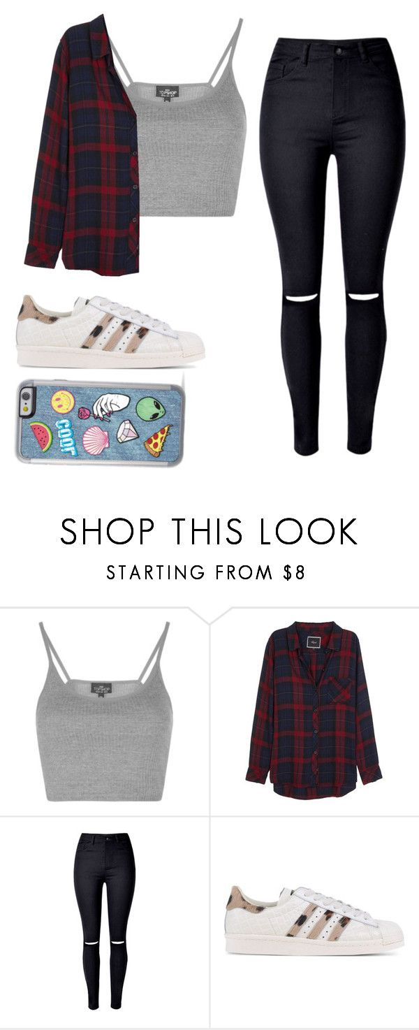"""""""Untitled #315"""" by o-dell-is-cool ❤ liked on Polyvore featuring Topshop, Rails, WithChic and adidas Originals"""