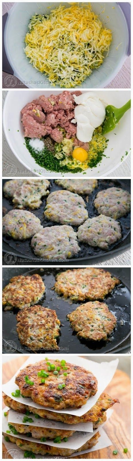 Imagine if you will that a katleta (meat patty) married a zucchini fritter and they had babies = Chicken Zucchini Fritters. I'm n...