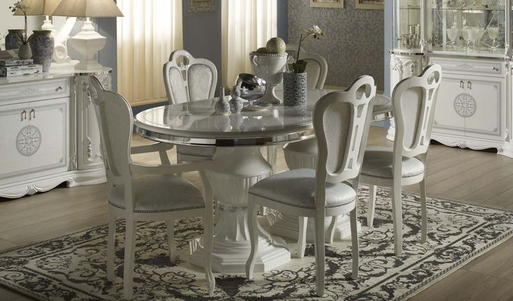Geena White High Gloss Italian Made Extedning Dining Table