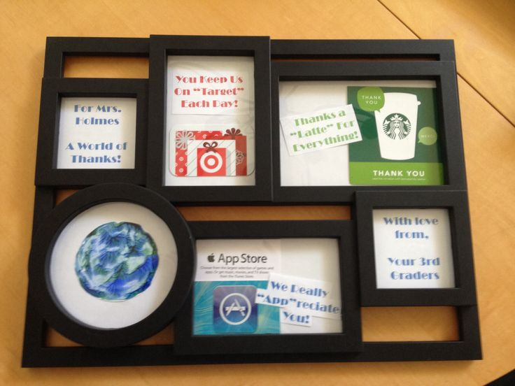 a unique way to give gift cards  a frame collage