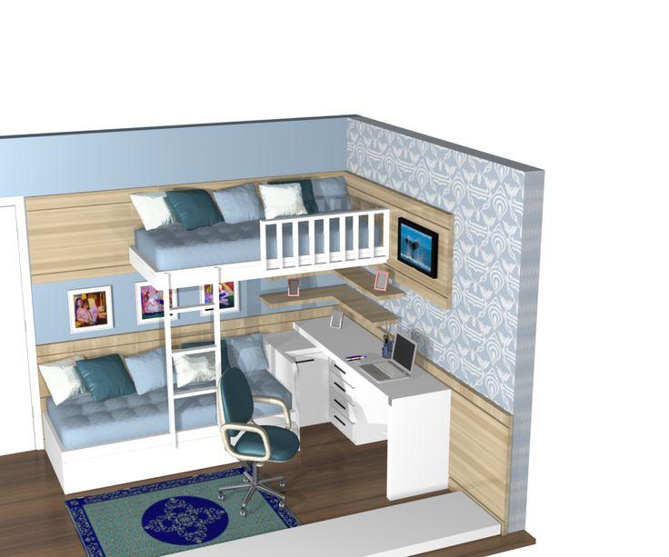 1 a moveis planejado quarto quartos dormitorios meninos for Apartamentos pequenos modernos