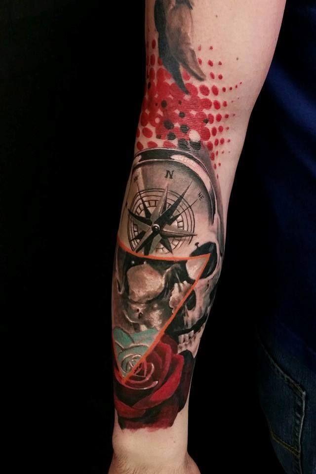 Chronic Ink Tattoo - Toronto Tattoo   Trash polka skull and compass done by Csaba (Joe).