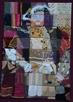 """King Henry VIII"" embroidered quilt, a collaborative work from the Kingston & District branch of the Embroiderers' Guild"