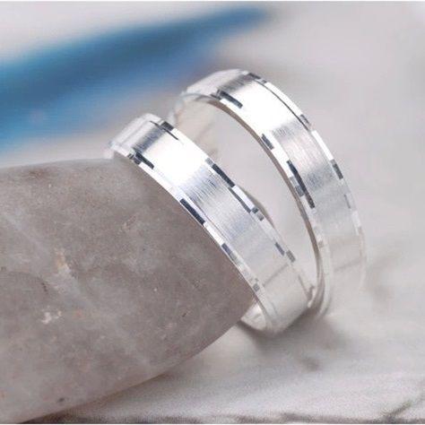 925 argent blanc plaqué or Wedding Bands fiançailles pour elle et lui couple anneaux Set pour hommes et femmes de Valentine cadeau de nouvel amour