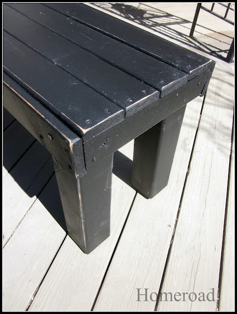 DIY bench - A little long for the garden, but it seems easy enough. Maybe put some fence posts as a back?