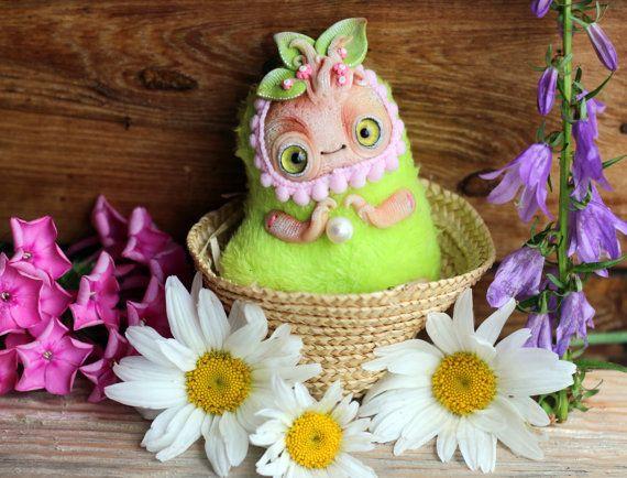 Fantasie Ooak pop miniatuur polymeer klei pop leuke knuffel mandrake wortel mandragora miniatuur fantasie beeldje fantasie speelgoed kunst