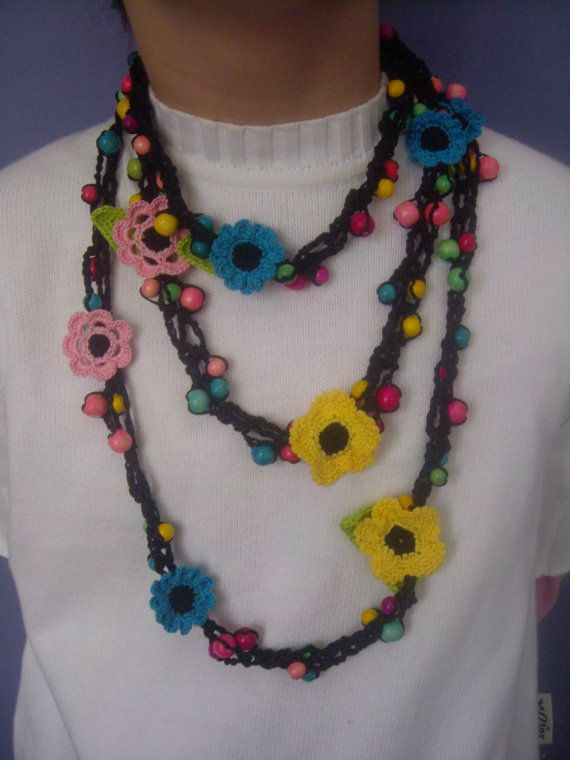 Crochet Necklace...Knitted Jewelry...Handmade by GalyaKireva