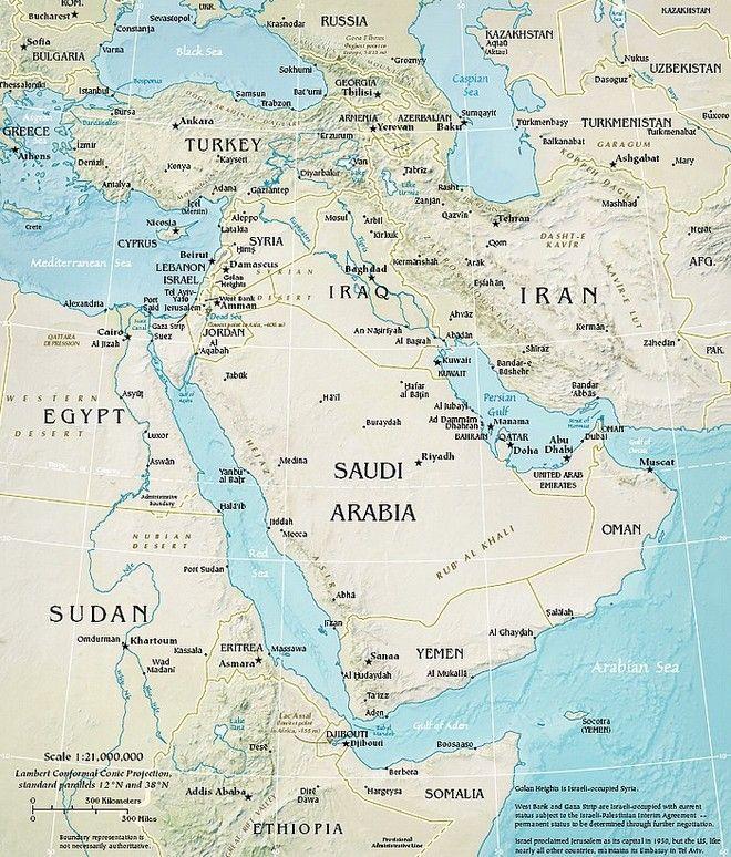 Carte de la région Moyen Orient