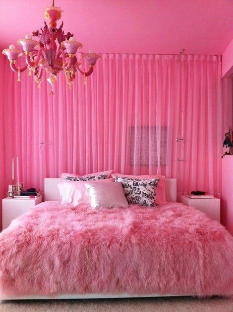 I love the furry bedspread & chandelier