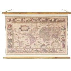 Cuadro lienzo lino estilo pergamino Mapa Mundi