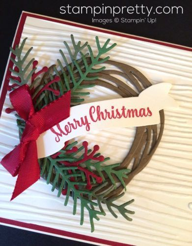 Pretty Pines & Swirly Scribbles holiday wreath card idea.  Mary Fish, Stampin' Up! Demonstrator.  1000+ StampinUp & SUO card ideas.  Read more http://stampinpretty.com/2016/10/holiday-wreath-christmas-card-idea.html