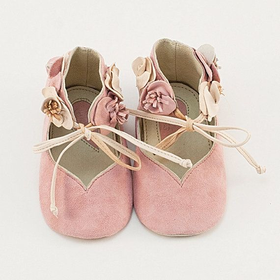 light pink leather baby shoes with flowers