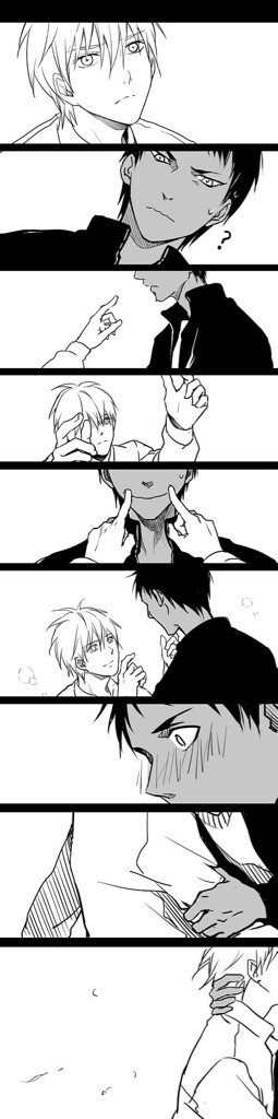 Aokuro~~ I just find this way too cute. *tear scrolls down cheek* does anyone else internally dying cuz Kuroko is trying to see Aomine smile?