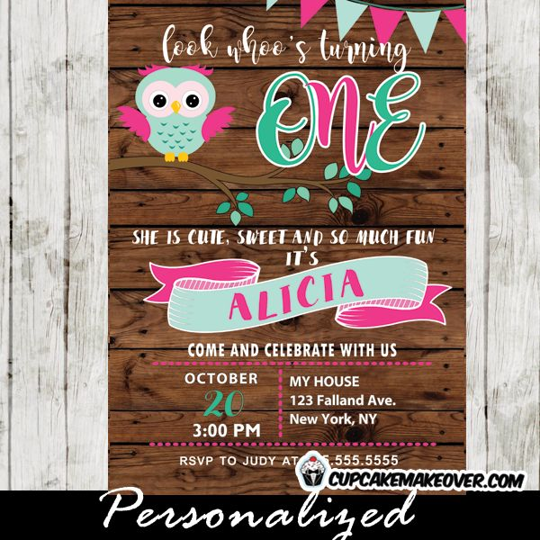Celebrate your little girl's first birthday with this adorable pink and mint Owl party invitation. This printable Owl themed birthday party invitation features a happy owl perched on a tree branch, pink and mint bunting flags with rustic wood planks in the background. #cupcakemakeover