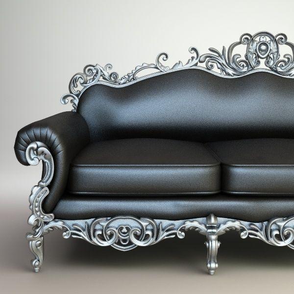 Leather and metal sofa