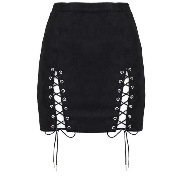 Suede Lace-Up Mini Skirt Black (145 MYR) ❤ liked on Polyvore featuring skirts, mini skirts, mini skirt, lace up skirt, suede skirt, suede leather skirt and short skirts
