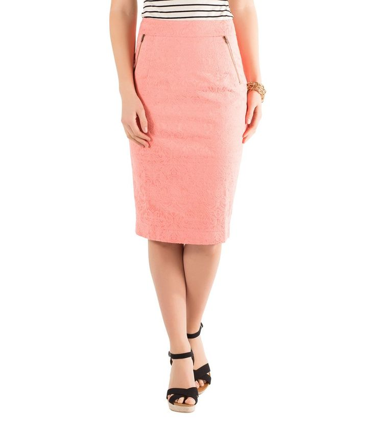 Jacquard Woven Pencil Skirt with Metal Zipper Trim - Front View Coral