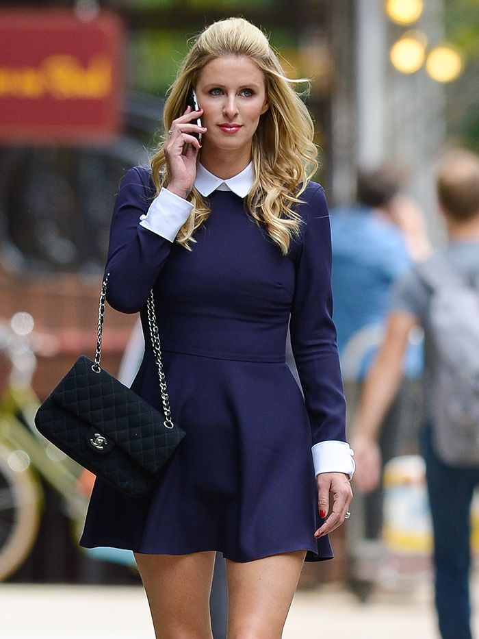 Nicky Hilton goes preppy in a long-sleeve navy skater dress with a white collar peeking out. // #Celebrity #Chanel
