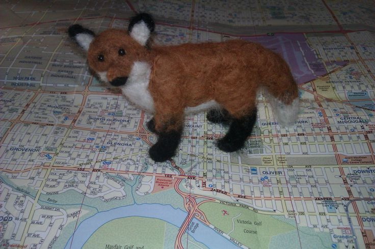 """""""Scout"""" the Fox; 2014; needle felted sculpture by Holly Boone of Polar Lights Art Studio. Currently located at the Alberta Craft Council. - SOLD! http://polarlightsart.wix.com/plas#!hollys-work/cq0w"""