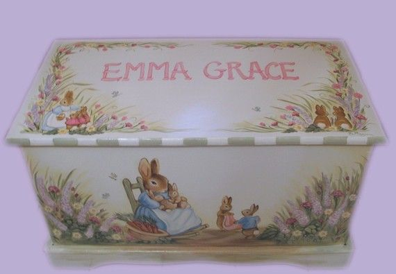I was searching for a wooden chest to put quilts in and this popped up...Emma Grace is the name Dustin and I have picked out if we ever have a little girl!
