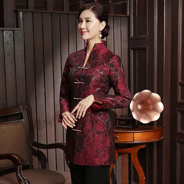 Charming Frog Button Open Neck Long Jacket - Dark Red - Chinese Jackets & Coats - Women