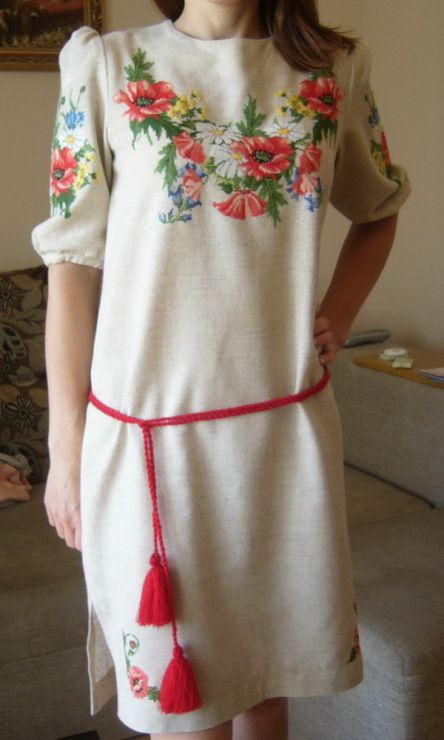 Gallery.ru / Платье с маками - Вышивка на одежде и разное - Auroraten