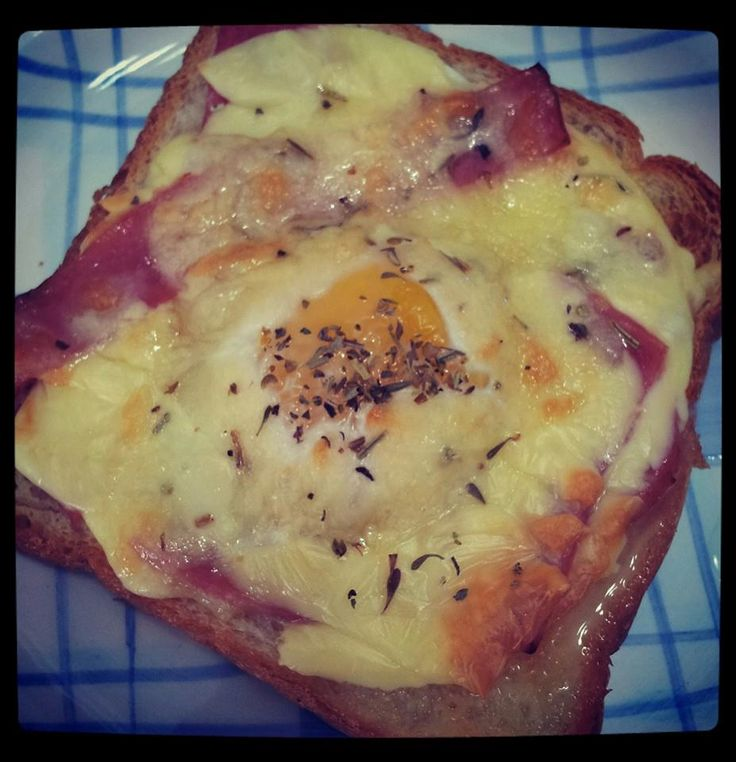 Airbaked bread toast - Add egg, cheese, ham on the bread and airbaked it around 10mins depending on how well u want the egg to be cooked. For added aroma, add some mixed herbs...