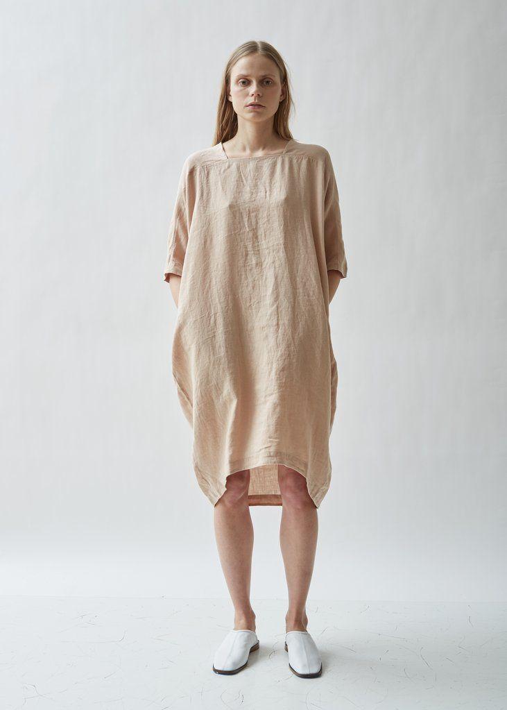 2d8f4126148 Scallion Short Sleeve Linen Dress - X-Small   Peach in 2019