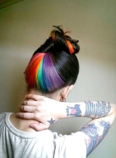 preto com mechas em laranja,rosa,amarelo,verde,azul e violeta