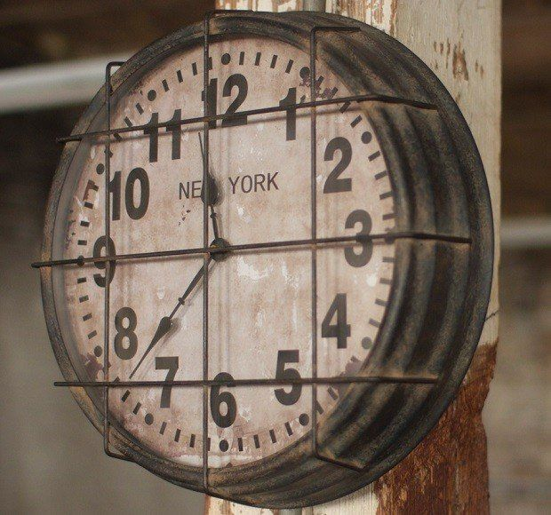Caged Clock   Vintage Gym Clock