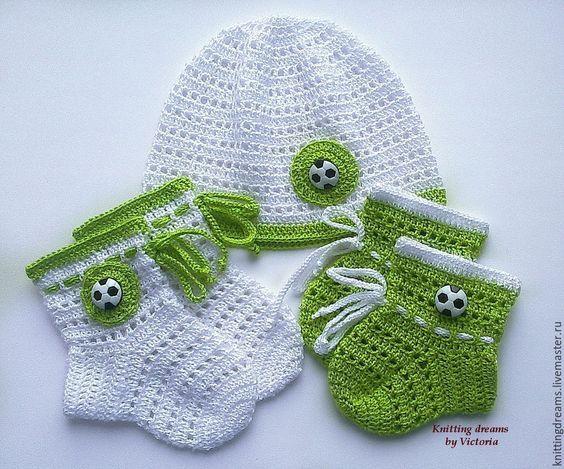 Купить Вязаный крючком комплект на выписку для новорожденного - белый, зеленый, комплект на выписку, комплект для мальчика: